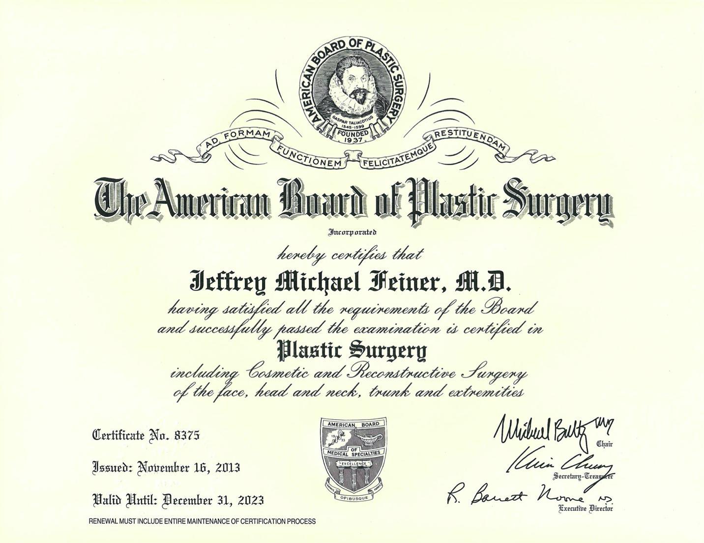 Board Certificate